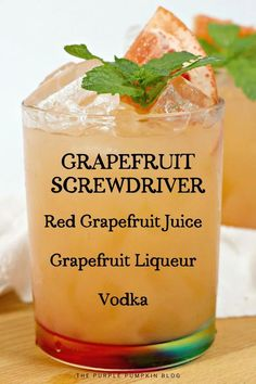 A twist on a classic cocktail, this Grapefruit Screwdriver is made with red grapefruit juice instead of the usual orange juice. But that's not all! Grapefruit liqueur goes in along with vodka for a refreshing, tart drink that is great for brunch or for sipping in the sunshine! Mix it up even further by using flavored vodkas! #GrapefruitScrewdriver #ScrewdriverCocktail #Cocktails #ThePurplePumpkinBlog #Recipes Bbq Drinks, Yummy Drinks, Beverages, Sour Cocktail, Cocktail Making, Screwdriver Cocktail, Rainbow Smoothies, Purple Pumpkin, Smoothie Makers