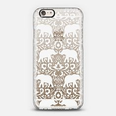Elephant Damask White Clear | Jacqueline Maldonado iPhone 6 shine through case from @casetify In Stock (Free Delivery Worldwide) www.casetify.com | Graphics | Painting |