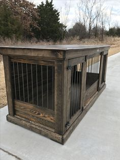 Rustic & classic piece to replace your dogs' wire crate.  Perfect as an entry table or entertainment stand!  Large Single Double Dog kennel.  Double kennels come standard with center door that allows the space to be divided into two spaces  or latched back to completely keep kennel opened.  Can be ordered in custom distressed paint of your color choice. comes standard with stain and polyurethane.  It is furniture for your dog.