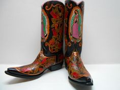 Rare Mens 11 D Custom Hand Tooled Our Lady of Guadalupe Snip Toe Western Boots #CrazyHorse #CowboyWestern
