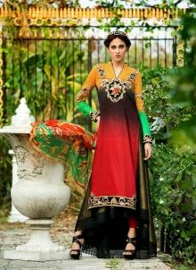 Latest lawn cotton Pakistani abaya salwar kamiz in Orange D15495
