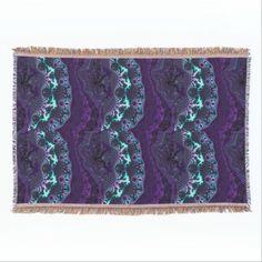 Fractal Design in Blue and Purple Throw Blanket  #fractal