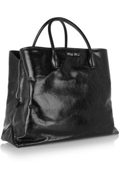 Miu Miu | Cracked glossed-leather tote | NET-A-PORTER.COM - Oh, so expensive, but oh so beautiful!
