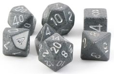 Lock and load with Camo Dice (Hi-Tech). This 7-piece RPG dice set has all the classic polyhedral shapes you know and love: d4, d6, d8, d10, d%, d12, and d20. Each Hi-Tech die is cast in a pattern of s