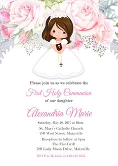 Printable First Communion Invitation - Collegio Sanlorenzo Template First Communion Cards, Holy Communion Invitations, First Communion Favors, First Holy Communion, Printable Invitation Templates, Printable Wedding Invitations, Digital Invitations, Event Invitations, Hair Color