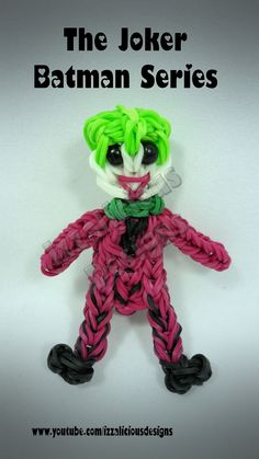 Rainbow Loom The Joker From Batman - Action Figure/Charm - Gomitas tutorial by Izzalicious Designs.