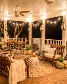 Fall Back Porch at Night How to style your outdoor spaces for autumn using capsule decor items that will last throughout the seasons and get the most bang for your buck Sweet Home, Screened In Porch, Planters For Front Porch, Porch Swing, Front Porch Curtains, Front Porch Bench Ideas, Front Porch Pergola, Front Porch Flowers, Brick Porch