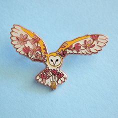 Owl Enamel Pin by Natelle Quek of Natelle Draws Stuff