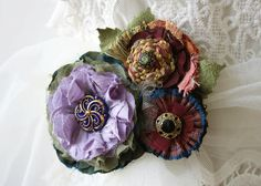 Flower Pin Corsage Brooch in Violet Purple by rosyposydesigns, $68.00