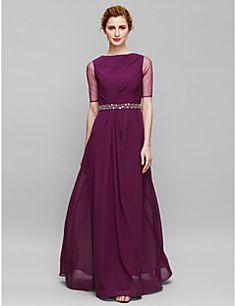 Sheath+/+Column+Mother+of+the+Bride+Dress+Floor-length+Half+Sleeve+Chiffon+/+Tulle+with+Beading…