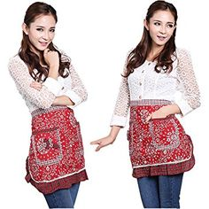 Waist Aprons with 2 Pockets Cotton for Women Girls Restaurant Waitress Waiter Half Bistro Apron for Christmas Gift,Red