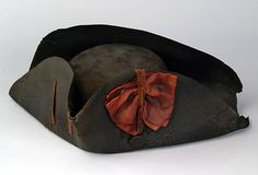 Military Cocked Hat 18th Century Documented as belonging to Hartshorne of Reading. Felt, silk. H (crown) 10.2, W (brim front) 12.7, W (brim back) 16.5 cm Morristown National Historical Park, MORR 3884