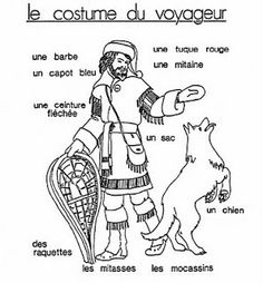 Attire of the Voyageur ('le costume du voyageur'): Note that the toque here is red. Social Studies Resources, Teaching Social Studies, Teaching Tools, Canadian History, Canadian Art, Canada For Kids, Canada Eh, Fur Trade, French Resources
