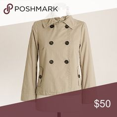 J.Crew Washed Ruffle-Collar Trench Jacket Good used condition, no flaws.  Lining is a little wrinkly, otherwise in great condition.  Color: Blanched Almond (khaki).  The fit is a little looser and shorter than the stock photo. J. Crew Jackets & Coats