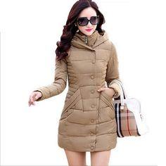 8a0ba15fbd76 Купить товар Новый 2016 Женщин Пальто Тонкий Молнии Кнопка женская Куртка…  Длинные Жакеты, Зимние