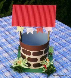 Enfeite de centro de  mesa  - Pocinho Todo feito em papel. Acompanha três saquinhos plásticos (10x15 cm) para  guloseimas e três laços em TNT (cores variadas). R$ 9,60