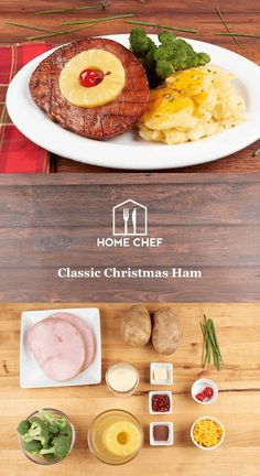 This is one 1950s throwback that we're proud to share! Our ham steak is coated in a pineapple, allspice, and cherry jam glaze and caramelized for maximum flavor. You'll whip up your own ridiculously cheesy, ridiculously delicious au gratin potatoes and serve it with a side of roasted broccoli for balance. The dish is finished off in throwback fashion with a retro canned pineapple ring and an electric red maraschino cherry. Yum.