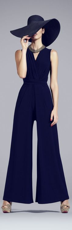 When do you wear different types of hats? long navy blue jumpsuit for spring wedding during the day.