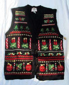 1aa9aaa245 Women s Ugly Christmas Holiday Candles Holly Ornaments Sweater Vest Size  22 24  Tiara  UglyChristmasSweater
