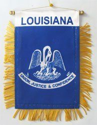 "Louisiana - Window Hanging Flag by Flagline. $2.75. We are pleased to provide a selection of window-hanging flags, perfect for display in your vehicle. These are approx. 4.5"" x 4"" flags with fringed edges and a gold rope which attaches to the supplied suction hanger, or mounts directly over your rear-view mirror."