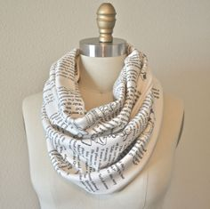 Book Scarf. They do custom orders with any text you want on a scarf!