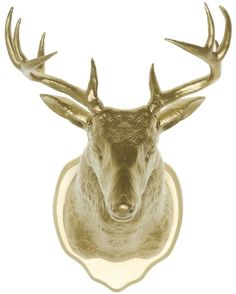 TAXIDERMY WALL HOOK DEER GOLD Have you ever wondered how to spruce up that space in a way that shows off your classy side, and love of taxidermy? Problem solved! This little gold deer is perfect for showing off your jewelry, or just accenting any space. This handsome buck can be hung on the wall or used as a magnet. $13.00 #housewares #taxidermy #kitsch #kitschdecor #wallhook