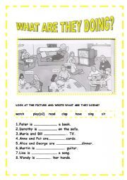 English worksheet: PRESENT CONTINUOUS TENSE -WHAT ARE THEY DOING?
