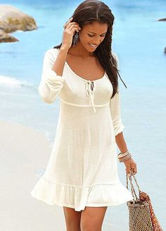 LASCANA Cream Flounce Dress
