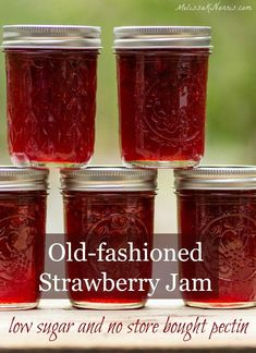 Perfect Strawberry Jam Recipe without pectin! | Low Sugar | Home Canning | Preserving Food | Preserving the Harvest | Gardening | Summer Fruit Strawberry Jam Recipe No Pectin, Homemade Strawberry Jam, Strawberry Recipes, Pectin Recipe, Homemade Jelly, Strawberry Jam Recipe Without Pectin Low Sugar, Pomegranate Jam No Pectin, Strawberry Fruit Spread Recipe, Gourmet