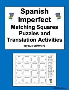 Spanish Imperfect Matching Squares Puzzles and Assignments by Sue Summers