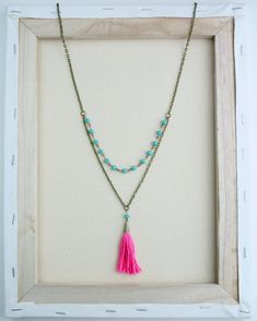 The Perfect Pink and Turquoise Tassel Necklace by ErroStudios
