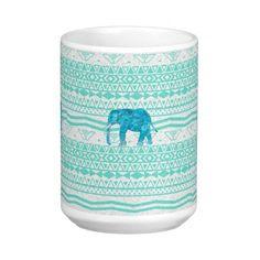 Whimsical Turquoise Paisley Elephant Aztec Pattern