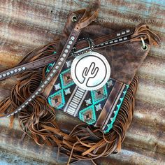 Turquoise and Cocoa Aztec Cross Body Handbag with Cactus Leather Patch and Fringe by Running Roan Tack