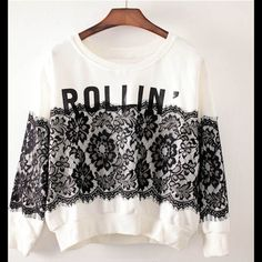 Long Sleeve Pullover With Neck Lace Print Material: Cotton Blends Neckline: Crew neck Occasion: Casual It will make you look more slim. It is suitable for this season.                                       ✅Reasonable offers welcome! ✅Bundle Discounts! No Trades/PayPal. No Lowball offers. Tops Blouses