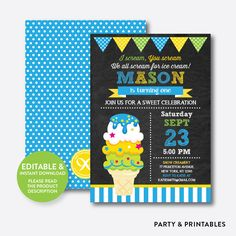 Fancy Ice Cream C... http://partyandprintables.com/products/ice-cream-chalkboard-kids-birthday-invitation-editable-instant-download-ckb-134?utm_campaign=social_autopilot&utm_source=pin&utm_medium=pin #partyprintables #birthdayinvitation #partysupplies #partydecor #kidsbirthday #babyshower