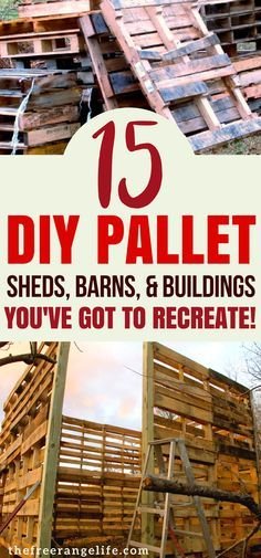 Check out these amazing DIY Pallet sheds! Build your own barn, garage, shed- or even office using recycled pallets! Great for homesteading! #diy