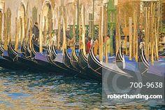 A line of Gondolas, Venice, Veneto, Italy