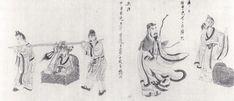 Chen Hongshou. Retour au foyer, extrait des Scènes de la vie de Tao Yuanming,  1650, rouleau horizontal, encre et couleurs légères sur soie. Hawaï, Honolulu Academy of Art.