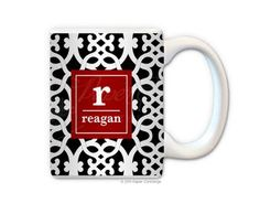Black/Red Ribbon Personalized Coffee Mug from Paper Concierge