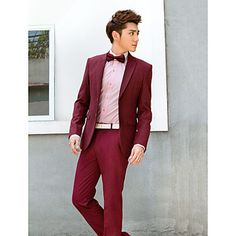 Burgundy Solid Slim Fit Tuxedo In Polyester – USD $ 83.99