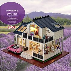 Provence Dollhouse Miniature DIY House Kit Creative Room with Furniture and Cover for Romantic Artwork the Best Choice for Gifts Large House with Led Light and Music >>> Want to know more, click on the image.Note:It is affiliate link to Amazon.
