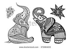 Set of Hand drawn stylized elephants with decorative tribal ethnic ornament in zentangle style. Vector animal patterned illustration isolated on white background for coloring book.
