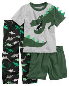 Toddler Boy 3-Piece Dinosaur Jersey PJs   Carters.com