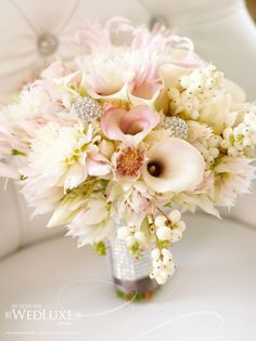 Elegant white wedding-bouquet-with Rhinestone Bouquet Jewelry.  Can you make something like this in coral color tone?