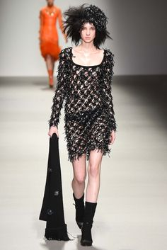 Open mesh crochet and crazy beading, but what I really love about this dress is the neckline! Sibling F15 RTW