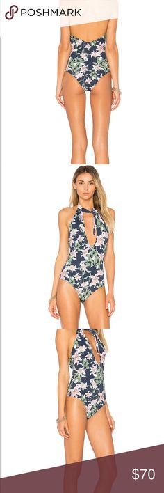 X REVOLVE Coral One Piece in Floral never worn Never worn with tags cute floral one piece from Revolve! Size Medium perfect condition Beach Riot Swim One Pieces
