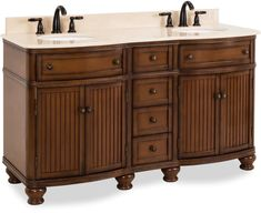 Finish: Walnut - specification - Finish: Walnut Width: in Weight: lb Base Metal: MDF Manufacturer: Hardware Resources Elements - Hardware Resources double Walnut vanity w/ Antique Brushed Satin Brass hardware, bead board doors, curved front Small Bathroom Plans, Large Bathrooms, Rustic Bathrooms, Bathroom Vanities For Sale, Diy Bathroom Decor, Bath Vanities, Bathroom Ideas, Cabinet Boxes, Vanity Cabinet