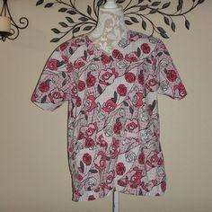 Landau Womens Pink White Gray Roses Floral Scrub Size Medium #Landau