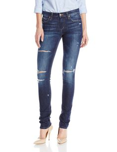 Joe's Jeans Women's Icon Mid-Rise Skinny Jean in Jem, Jem, 25. Five-pocket jean in medium-wash 9.5-ounce denim featuring allover abrasions and zip fly with button closure.