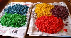 Dyed noodles for crafts